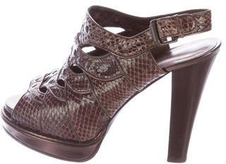 Bottega VenetaBottega Veneta Snakeskin Platform Sandals