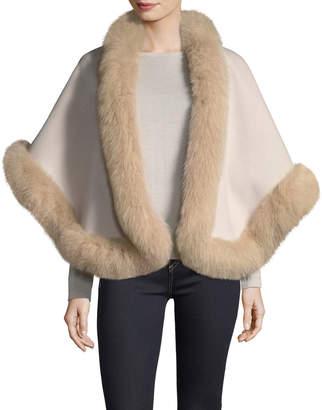 Neiman Marcus Luxury Double-Faced Cashmere Short Cape w/ Fox Fur Trim
