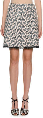 Giambattista Valli Daisy-Embroidered Tweed A-Line Skirt