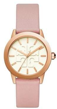 bd316174bf97 Tory Burch Womens Three-Hand Gigi Rose Goldtone and Blush Pink Leather Watch