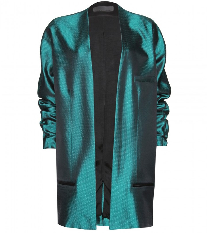 Haider Ackermann MESH EFFECT LONG SILK BLAZER