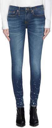 R 13 'Alison' distressed cuff skinny jeans