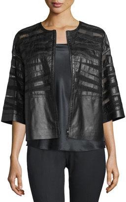 Lafayette 148 New York Sabina Leather 3/4-Sleeve Jacket, Black $699 thestylecure.com