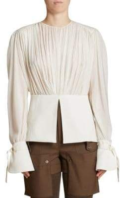 Chloé Silk Ruched Long Sleeve Blouse
