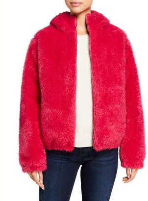Moncler Kolima Reversible Faux Fur Jacket w/ Hood