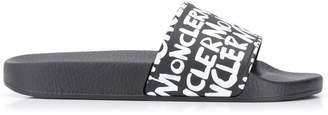 Moncler graffiti logo print slide sandals