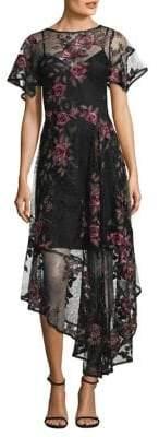 Nanette Lepore Floral Flamenco Asymmetrical Chiffon Frock Dress
