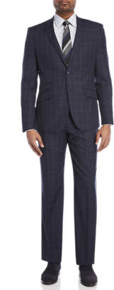 English Laundry Two-Piece Navy Windowpane Wool Suit