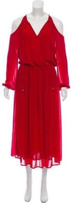MICHAEL Michael Kors Cold-Shoulder Pleaded Maxi Dress