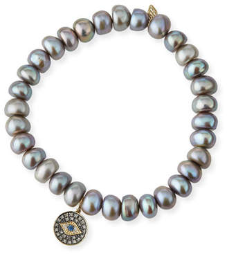 Sydney Evan Gray Pearl Bead Bracelet w/ 14k Evil Eye Charm