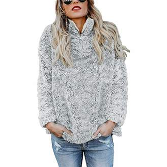 443673dcd49 Gfsoediden Women Sherpa Hoodie Zipper Turtle Neck Fleece Pullovers Loose  Sweatshirt Coat (Color
