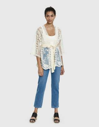 Farrow Cassis Sheer Lace Kimono in Natural