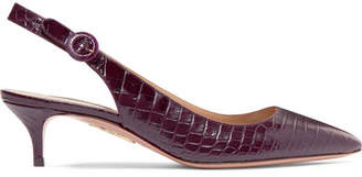 Aquazzura Pure Croc-effect Leather Slingback Pumps - Merlot
