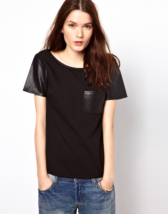 Aryn K Short Sleeved T-Shirt With Faux Leather Sleeves