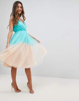 Asos DESIGN PREMIUM Pleated Tulle Color Block Midi Dress