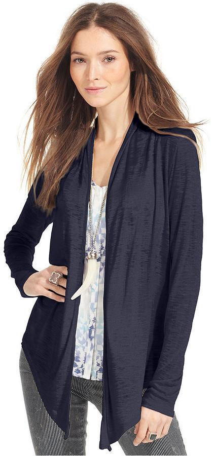 Calvin Klein Jeans Petite Sweater, Long-Sleeve Draped Cardigan