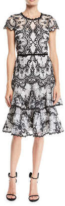 Marchesa Corded Lace Dress w/ Embroidery & Velvet Trims