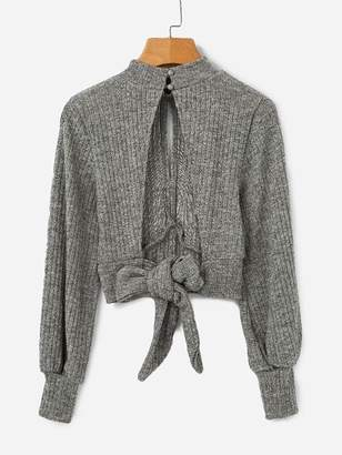 Shein Open Back Knot Detail Crop Marled Knit Sweater