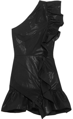 Isabel Marant - Lavern One-shoulder Ruffled Coated Cotton-blend Mini Dress - Black $835 thestylecure.com