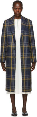 Acne Studios Blue and Brown Plaid Long Coat
