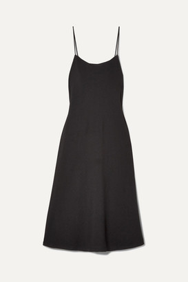 The Row Gibbons Crepe De Chine Midi Dress - Black