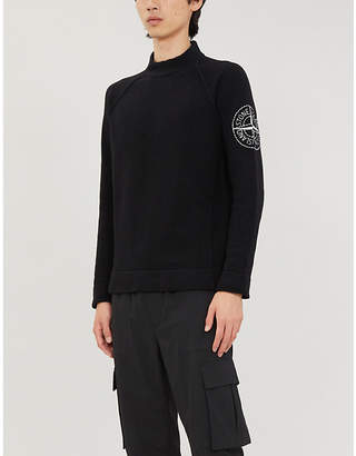Stone Island Logo-embroidered long-sleeved wool-blend jumper