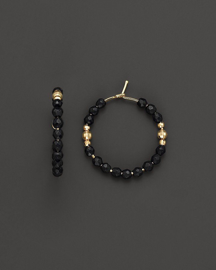 Mizuki 14K Yellow Gold Small Hoop Earrings with Faceted Gold and Onyx Beads