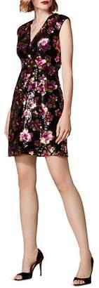 Karen Millen Sequined Floral Faux-Wrap Dress