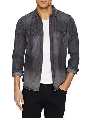 Replay Men's M4860z.000.106 414 Denim Shirt Grey 9, Large