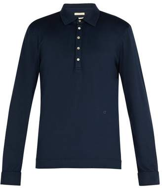 Massimo Alba Long Sleeved Cotton And Cashmere Blend Polo Shirt - Mens - Navy