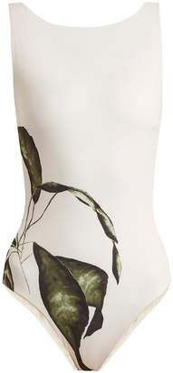 HAIGHT Leaf-print boat-neck maillot swimsuit