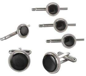 David Donahue Sterling Silver and Onyx Stud Set