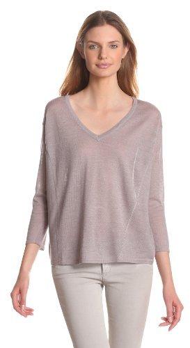 Design History Women's Linen V-Neck 3/4 Sleeve Boxy Sweater
