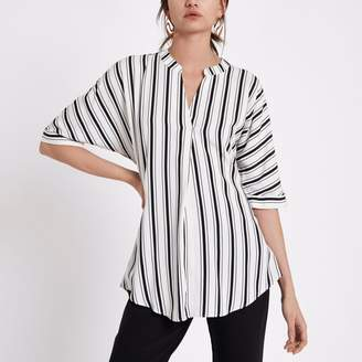 River Island Womens Black stripe short sleeve twist back blouse