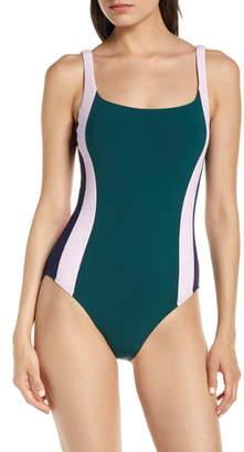 Tory Burch Colorblock Stripe One-Piece Tank Swimsuit