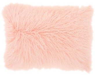 Nourison Couture Fur Tibetan Sheepskin Pink Throw Pillow