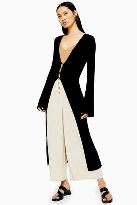 Topshop Knitted Open Longline Cardigan with Linen
