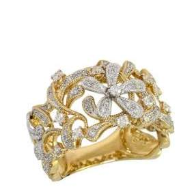 Effy D Oro Two Tone 14 Kt Gold Diamond Flower Ring