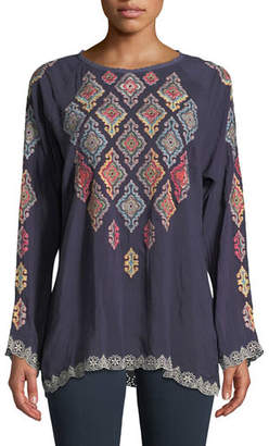 Johnny Was Kikumi Embroidered Long-Sleeve Blouse, Plus Size