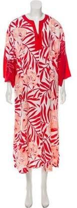 Oscar de la Renta Printed Split Neck Nightgown