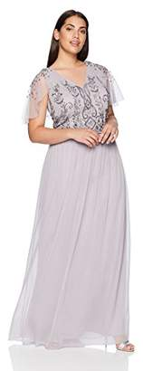 Adrianna Papell Women's Plus Size Beaded Bodice Flutter Sleeve Chiffon Gown
