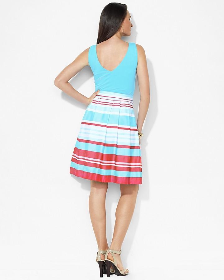 Lauren Ralph Lauren Sleeveless Striped Surplice Dress