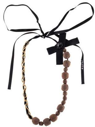Marni Horn & Fabric Bead Necklace