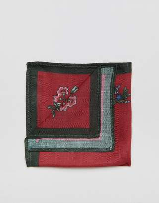 Asos Pocket Square In Red Floral