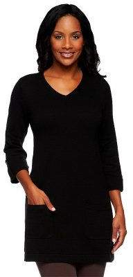Denim & Co. V-neck 3/4 Tab Sleeve Sweater Tunic with Pockets