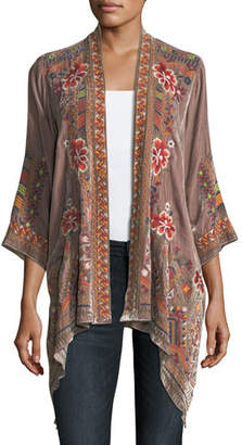 Johnny Was Waleska Draped Embroidered Velvet Cardigan, Petite