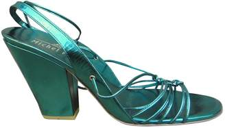 Michel Perry Green Leather Sandals
