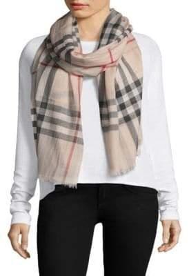 Burberry Gauze Giant Check Wool& Silk Scarf