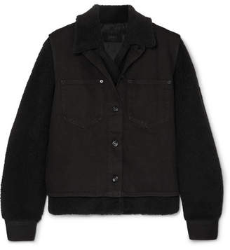 MM6 MAISON MARGIELA Convertible Faux Shearling, Shell And Denim Jacket - Black