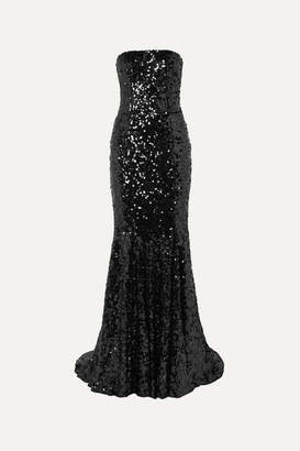 Dolce & Gabbana Strapless Sequined Tulle Gown - Black